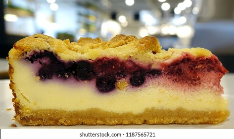 A rich and dense blueberry cheesecake with brumbs or streusel