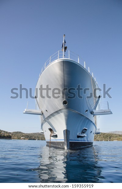 Rich - front view of luxury yacht on the Mediterranean Sea