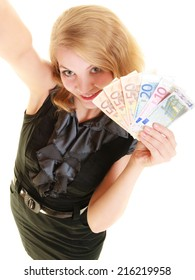 Rich happy blonde business woman showing euro currency money banknotes. Economy, finance and business work.