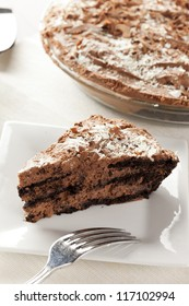 Rich Homemade Chocolate Pie against a background