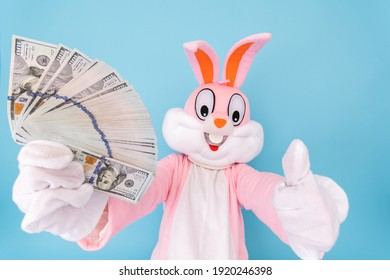 Rich lucky happy man or boy or kid millionaire or billionaire holds fan of dollars, shows thumb finger up, having fun. Easter bunny or rabbit or hare with dollar, celebrate Happy easter