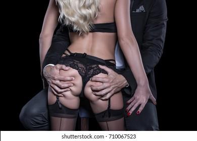 Rich man grab sexy blonde lover ass in nightclub closeup