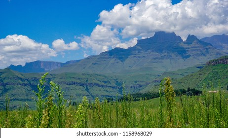 Rich natures with green grass and mountains in Drakensberg Giant Castle, South Africa
