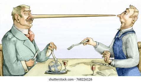a rich powerful businessman with lies conquers the world served at the table while keeping an amazed worker away using his long liar nose