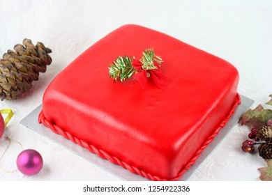 Rich red color square shaped Christmas cake