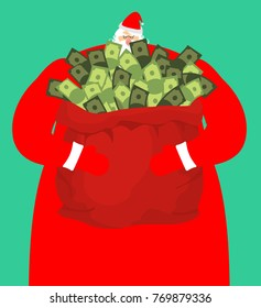 Rich santa and red bag with money. Claus sack of cash. Expensive gift. Wealth Christmas