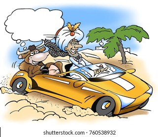 A rich sheik take a drive with a sacred cow