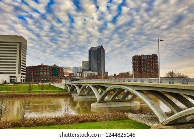 The Rich Street Bridge crosses the Scioto river in Columbus, Ohio and is a popular downtown destination to view the skyline.