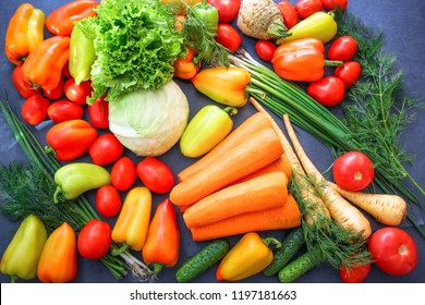 A rich variety of autumn colorful bright and fresh vegetables and roots.