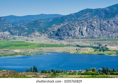 Rich vineyards growing in the desert lands of the southern part the Okanagan Valley overlook Osoyoos Lake in British Columbia, Canada.