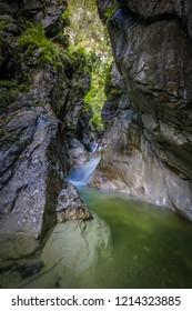 Rich waterfall in Burggrabenklamm near Attersee
