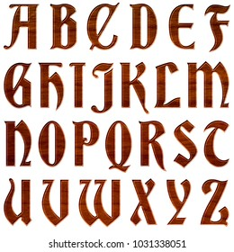 Rich wood grain style antique ancient font style full alphabet capital letter set in a 3D illustration with a rough brown wooden texture isolated on a white background with clipping path.