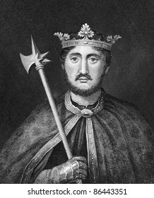 Richard I aka Richard The Lionheart (1157-1199). Engraved by Bocquet and published in the Catalogue of the Royal and Noble Authors, United Kingdom, 1806.