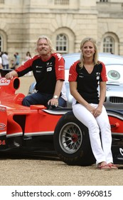 """Richard and Holly Branson launch the """"Cars 2"""" and Marussia Virgin Racing partnership at Horse Guards Parade, London  04/07/2011 Picture by: Steve Vas / Featureflash"""