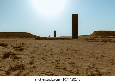 "Richard Serra, Doha, Qatar - March 2018 : East-West West-East sculpture by artist ""Richard Serra"" erected in Brouq nature reserve near village of Zikreet / Doha, Qatar"