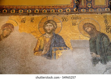 richly christian mosaic of mosque Hagia Sofia in Istanbul,Turkey