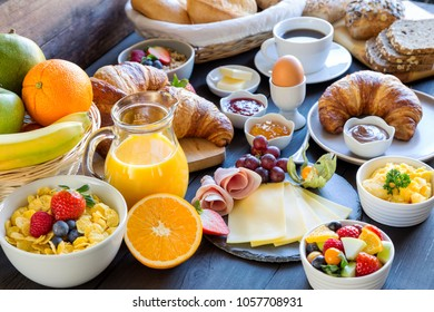 richly covered breakfast table
