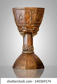Richly decorated chalice made of bronze.