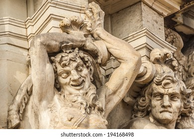 Richly sculptured Rampart Pavilion. Zwinger Palace (architect Matthaus Poppelmann) - royal palace 17 century in Dresden, Germany. Today, Zwinger is a museum complex and most visited monument.