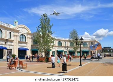RICHMOND BC, CANADA - July 13, 2015: Unidentified people in the new McArthurGlen Designer Outlet near the Vancouver Airport. McArthurGlen Designer Outlet was designed as a luxury shopping destination.