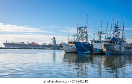RICHMOND, BC, CANADA - NOVEMBER 22, 2014: Fishing boats in Steveston Village dock in Richmond, BC. Steveston is a historic fishing village. It has become a popular place to visit and live.