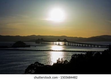 Richmond, CA / USA - May 13, 2014 : View of Richmond Bridge as seen from Point Richmond. Marin county in the Background.