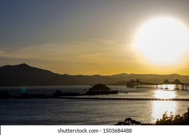 Richmond, CA / USA - May 13, 2014 : View of Richmond Bridge and Mount Tamalpais as seen from Point Richmond.