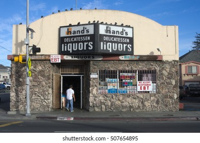 RICHMOND, CALIFORNIA - CIRCA 2016: Hand's, a family business on 23rd street, is a mainstay is a changing diverse neighborhood.