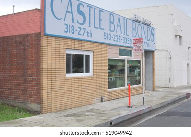 RICHMOND, CALIFORNIA, CIRCA OCTOBER 2016: Castle Bail Bonds is located across the street to the newly renovated (to the tune of $91 million dollars) Civic Center Plaza.