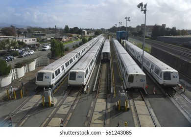 RICHMOND, CALIFORNIA - JANUARY 20, 2017: BART railroad train yard in Richmond services 40% of the trains in the BART system.