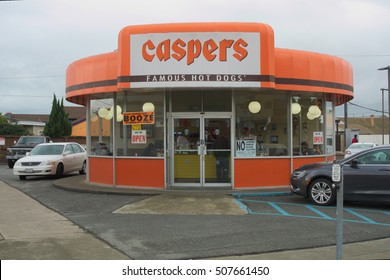 RICHMOND, CALIFORNIA - OCTOBER 28, 2016: Caspers is a landmark restaurant on MacDonald Avenue right across from the Civic Center Plaza.