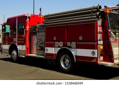 Richmond, California / USA - August 17, 2018: Firetrucks  assembled for the Spirit Ride, a public awareness event promoting safety for first responders.