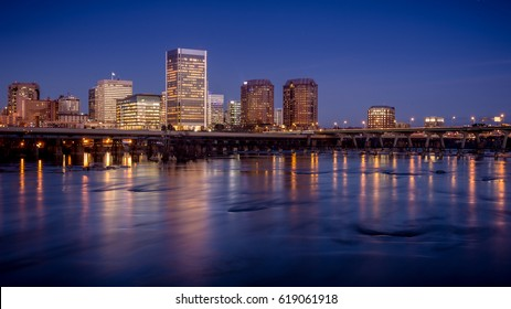 Richmond, capital of Virginia, USA, just after dusk
