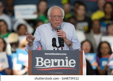 Richmond, CA/USA: 2/17/2020: U.S. Senator Bernie Sanders, who is campaigning for a 2020 presidential bid, speaks to supporters in Richmond California.