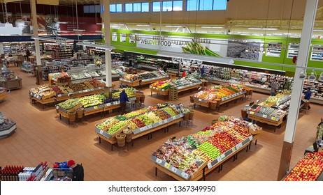 RICHMOND HILL, CANADA - APRIL 6, 2019: A large supermarket in Richmond Hill, Canada.