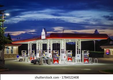RICHMOND HILL , CANADA - JULY 27 2020: Petro Canada gas station at night