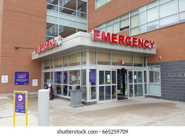 RICHMOND HILL, CANADA - JUNE 20, 2017: Emergency entrance at the Richmond Hill General Hospital, Canada.