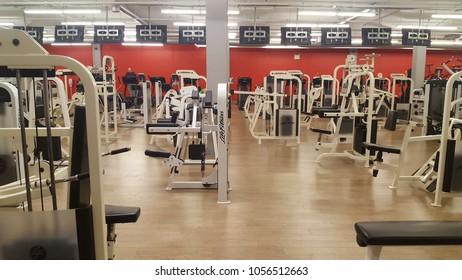 RICHMOND HILL, CANADA - MARCH 28, 2018: The interior of a modern gym in Richmond Hill, Canada.
