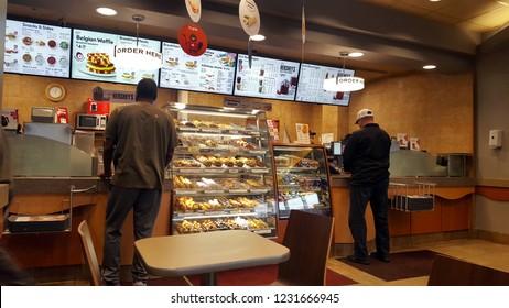 RICHMOND HILL, CANADA - NOVEMBER 15, 2018: The enterior of a Tim Hortons restaurant in Canada.