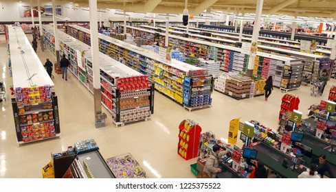 RICHMOND HILL, CANADA - OCTOBER 13, 2018: Supermarket aisles seen from above.