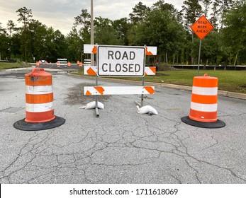 Richmond Hill, Georgia/United States-April 22 2020: Road Closed sign on middle of the road, Savannah ,Georgia.