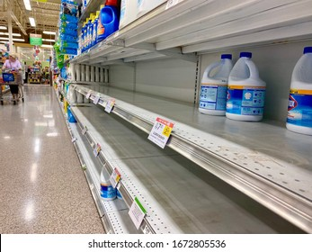 Richmond Hill, Georgia/United States-Mar 14 2020: Due to COVID-19  Coronavirus spreads in The United States. People are panic buying, bleach products were almost sold out at Publix supermarket.