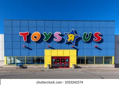 "Richmond Hill, Ontario, Canada - February 24, 2018: Toys ""R"" Us storefront in Toronto.  Toys ""R"" Us, Inc. is an American toy and juvenile-products retailer founded in 1948."