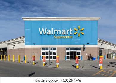 Richmond Hill, Ontario, Canada - February 24, 2018: Walmart storefront. Walmart Inc. is American  retail corporation operates a chain of hypermarkets, discount department and grocery stores.