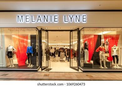 Richmond hill, Ontario, Canada - February 24, 2018: Melanie lyne store front in Hillcrest Mall near Toronto. Melanie Lyne is an Canadian fashion brand.
