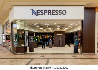 Richmond hill, Ontario, Canada - February 24, 2018: Nespresso store front in Hillcrest Mall near Toronto. Nespresso is an operating unit of the Nestlé Group, based in Switzerland.