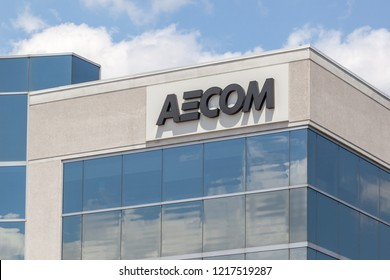 Richmond Hill, Ontario, Canada - June 08, 2018: Sign of Aecom Canada Ltd, an American engineering firm that provides design, consulting, construction, and management services.