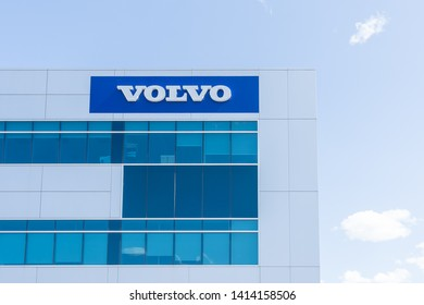 Richmond Hill, Ontario, Canada - June 02, 2019: Volvo Car Canada Corporate office in Richmond Hill, Ontario, Canada. Volvo is a Swedish company manufacturing trucks, buses and construction equipment.
