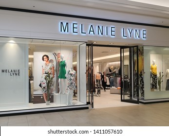 Richmond Hill, Ontario, Canada - May 04, 2019: Melanie lyne storefront at Hillcrest mall in Richmond Hill, Ontario, Canada. Melanie Lyne is an Canadian fashion brand.