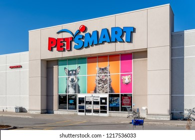 Richmond Hill, Ontario, Canada - October 30, 2018: PetSmart storefront. PetSmart Inc. is an American retail chain that is engaged in the sale of pet animal products and services.